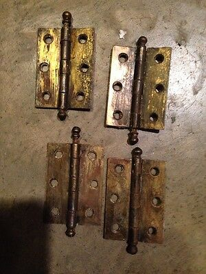 D 35A 4 Matching 2.3/8 X 1 And Three-Quarter Inch Hinges Antique