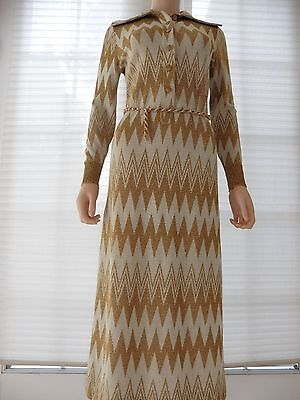 Vtg. Metallic Gold knit Maxi Sweater Dress  Mod stretch Size S Designer GOLDWORM