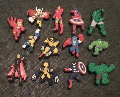 13 x Avengers Captain America Ironman Thor The Hulk Wolverine Croc Shoe Charms