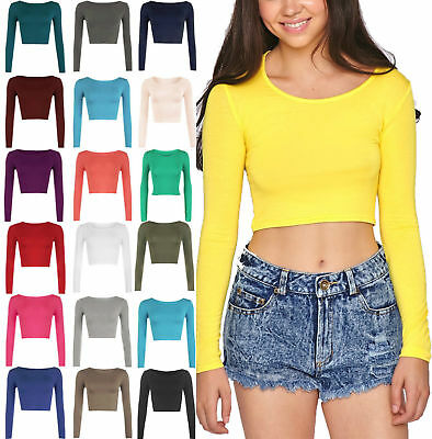 Womens Long Sleeve Scoop Neck Cropped Tops Ladies Crew Neck Vest Crop Top Shirts