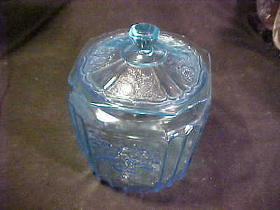 rare vintage blue mayfair cookie with lid--hocking glass co.