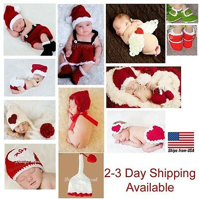 Newborn Baby Girl Boy Crochet Knit Outfit Hat Costume Christmas Santa Photo Prop
