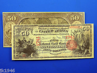 Reproduction $50 1875 National Gold Bank Note US Paper Money Currency Copy