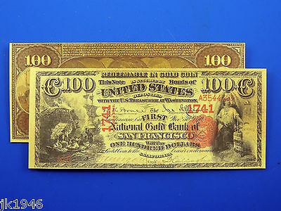 Reproduction $100 1875 National Gold Bank Note US Paper Money Currency Copy