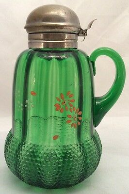 Acorn green pattern glass syrup pitcher Beaumont Glass 1890 enameled flowers