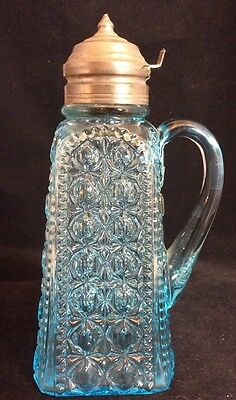 Valencia Waffle blue pattern glass syrup pitcher Adams 1885 patent dated lid