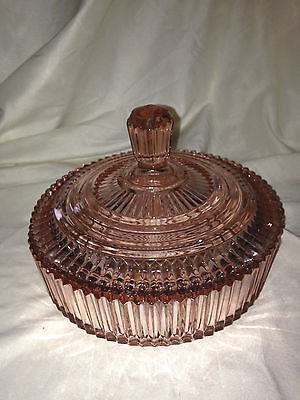 Pink depression Queen Mary Anchor Hocking covered Candy Dish