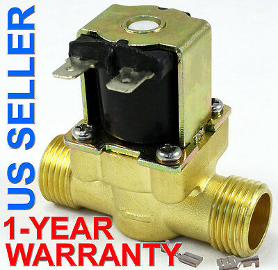 1/2 inch 24V DC VDC Slim Brass Solenoid Valve NPS Gas Water Air Normally Closed