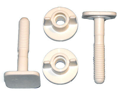 2 Toilet Seat White Screws A6  Full Set Easy Fitting Bath Bathroom Hinges