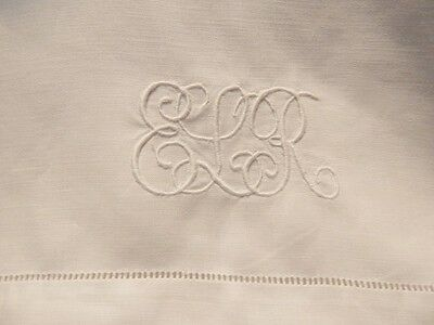 """Antique Linen Dowry Bed Sheet w Embroidery Monogram ELR 70"""" x 94.5"""""""
