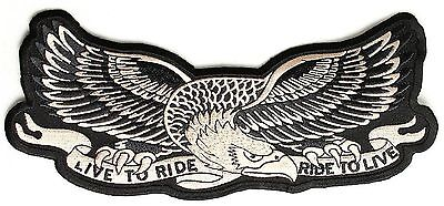 Large LIVE TO RIDE - RIDE TO LIVE AMERICAN EAGLE MOTORCYCLE BIKER Back PATCH