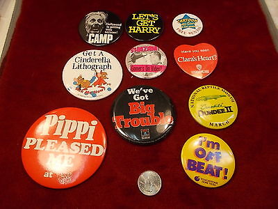 #17 of 19, LOT OF OLD VTG MOVIE PINBACK BUTTONS, BIG TROUBLE, LET'S GET HARRY