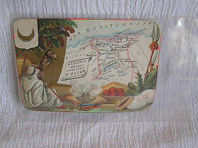 Antique French Map Card Postcard Algerie Algers Camel Bedouin Sahara Desert NICE