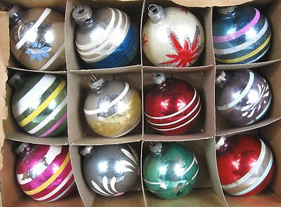 Lot of 12 Vintage 1940's-50's Christmas Ornaments Fancy Painted Stripes