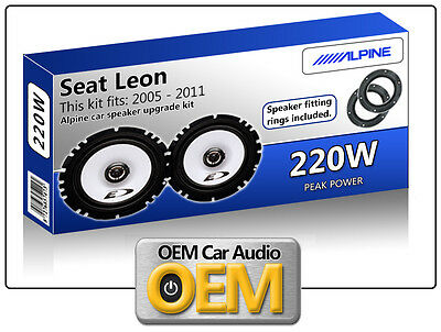 Seat Leon Rear Door speakers Alpine car speaker kit with Fitting Rings 220W