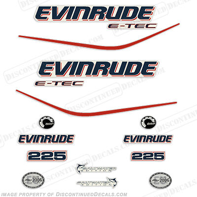 Evinrude 225hp E-Tec Outboard Decal Kit - 2004 2005 2006 2007 2008 Stickers