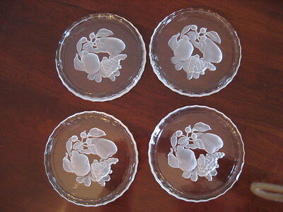 """VAL. ST. LAMBERT BRUSSELS 6"""" WINE COASTERS FROSTED INTAGLIO FRUIT DESIGN SIGNED"""