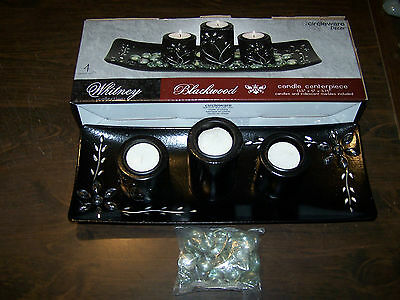 BLACKWOOD CANDLE CENTERPIECE FROM WHITNEY COLLECTION Candles Included NIB!