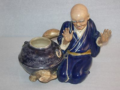 Estate Pottery Blue/Gray Rare Chinese Image,Sitting Man with Expression,Jar/Fox