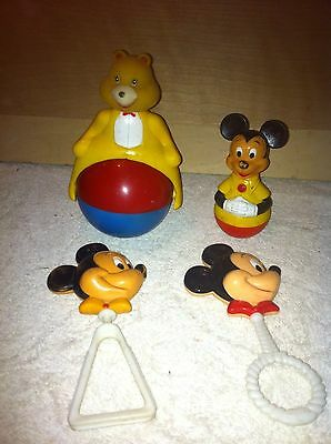Vintage Rolly Polly Mickey Mouse Rattle Toy Gabriel lot of rattles junk drawer