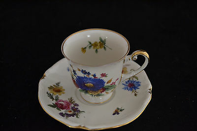 R / Y Demitasse Cup and Saucer Hohenberg Bavaria Germany Floral Pattern