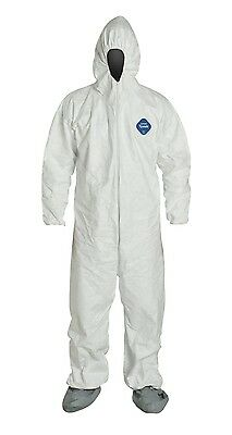 DuPont Tyvek Disposable Coverall with Hood/Boots, Elastic Cuff, LG, Case of 25