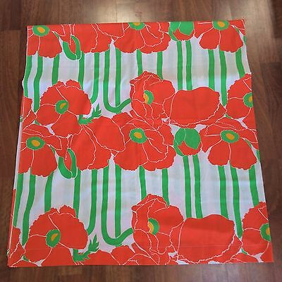 Vtg 70s Burlington Flat Sheet Mid Century Pop Art Poppies Orange Poppy Fabric