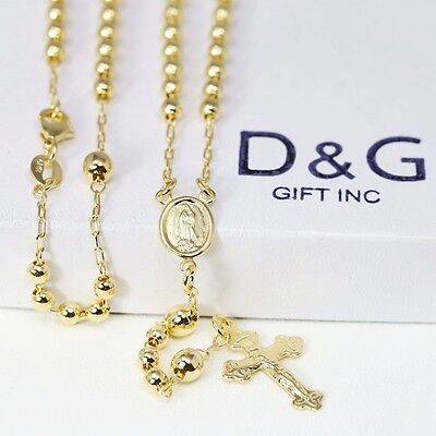 "DG 18"" Gold-Filled 18K Gold Rosary VIRGIN MARY+JESUS CROSS Necklace Unisex*BOX"