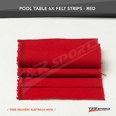 6x Thick Red Double-sided Wool Pool Table Felt Strips for Cushion