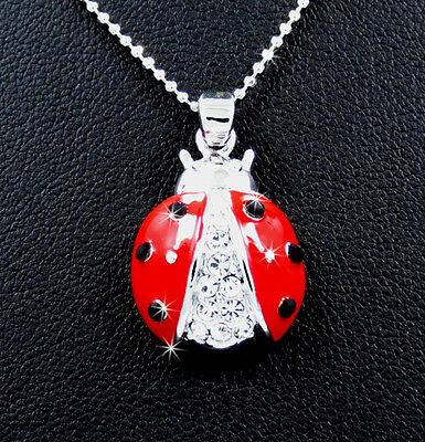 New Ladybug Austrian Crystal Charm Pendant Silver Tone Chain Necklace