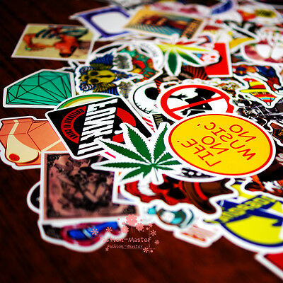 100 mix skateboard stickers laptoped snowboard car surf bicycle vinyl decal !