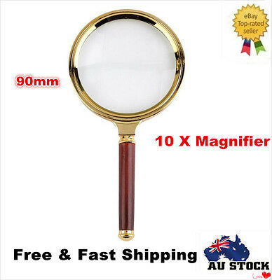 Handheld 90MM Plastic10X Magnifier Magnifying Glass Loupe Jewelry Reading Tools