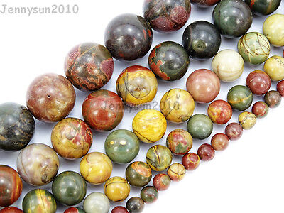 Natural Picasso Jasper Gemstone Round Beads 4mm 6mm 8mm 10mm 12mm 14mm 16'' Pick