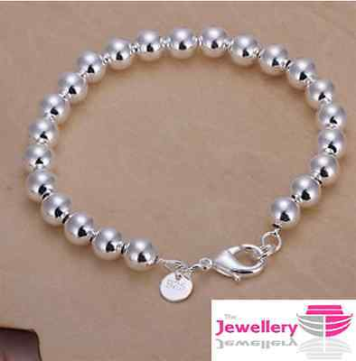 925 Sterling Silver 8mm Ball Bracelet Bangle Jewellery Womens Ladies Gift