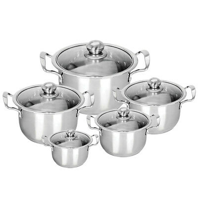 5Pc  Hob Stainless Steel Cookware Stockpot Pot Casserole Set Glass Lids