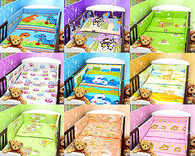 COT BUMPER 100% COTTON PADDED FOR BABY FIT COT 120x60 140x70  STRAIGHT