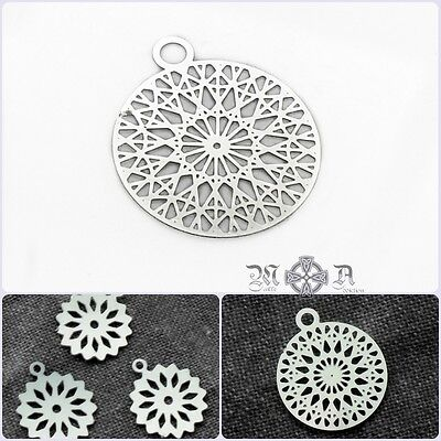 20 x Small Stainless Steel Thin Flower / Snowflake Filigree Charms - Silver Tone