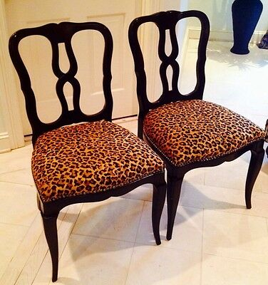 Pair Of Antique Accent Chairs Gorgeous Leopard Tapestry Rare Find