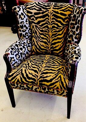 Stunning Antique Dramatic Flared Wingback Chair Zebra Silk Curved Back