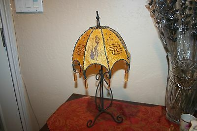 Unique Wrought Iron Votive Lamp with Beaded Shade