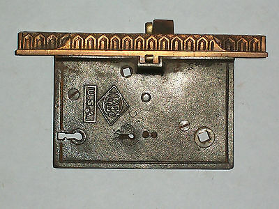 "Antique Eastlake Entry Door Lock By R&E Co. Late 1800's 7 7/16"" x  1 1/4"""