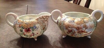 Vintage Moriage Hand Painted Sugar And Creamer