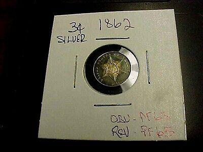 RARE 1862 3c THREE CENT SILVER PIECE PROOF +++ OBV PROOF +++++ REV BUY NOW OFFER