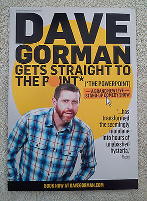 DAVE GORMAN UK Tour/Concert Flyer Gets Straigt To The Point Stand Up Comedy TV