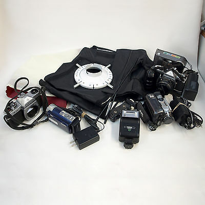 LOT OF MISC. CAMERAS, CAMCORDERS, and EQUIPMENT, FOR PARTS or REPAIRS