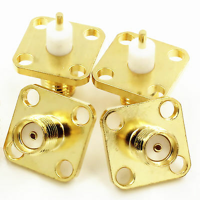 5stk. SMA Female with 4 Holes Chassis Panel Solder RF Connector Steckverbinder