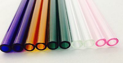 "Pyrex Glass Blowing Colored Tubing (10)Pieces  5  COLORS 12 mm O,D  (8 "" ) LONG"
