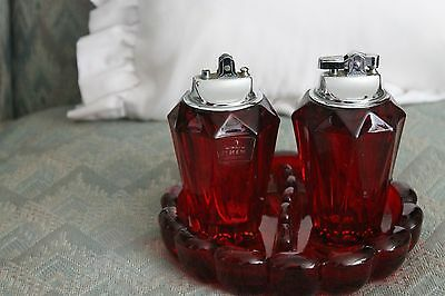 Vintage Viking Glass Set Lighter (2) and Ashtray In Pigeon's Blood/Ruby Red
