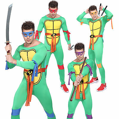Mens Adult 4 Figures Mutant Ninja Turtles Costumes Shell Mask Fancy Dress Party