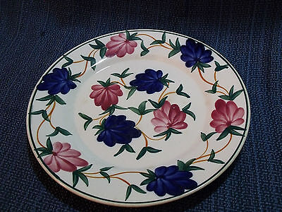 "ANTIQUE WITTENBERG GERMANY  9 1/2"" HAND PAINTED RED AND BLUE FLOWERS PLATE"